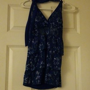 Blue, lacy tank top